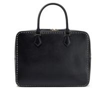 Stud Stitching Leather Shoulder Bag Black Size --