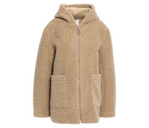 Woman Faux Shearling Hooded Coat Beige