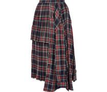 Layered Checked Flannel Midi Skirt Black