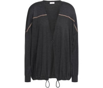 Woman Bead-embellished Metallic-paneled Cashmere And Silk-blend Cardigan Charcoal