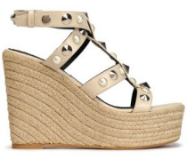 Embellished Leather Espadrille Wedge Sandals Beige
