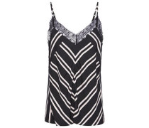 Woman Lace-trimmed Striped Twill Camisole Black