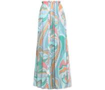 Ruffle-trimmed Printed Silk-chiffon Maxi Skirt Mint