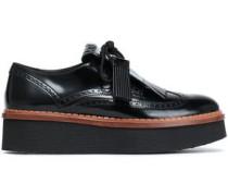 Tasseled Glossed-leather Brogues Black