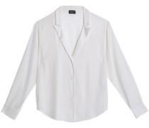 Satin-trimmed stretch-silk shirt