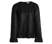 Ruffle-trimmed leather top