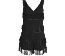 Fringe-trimmed cotton coverup