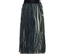 Eyelet-embellished Striped Plissé Midi Skirt Black