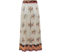 Velvet-trimmed Satin Wide-leg Pants Cream Size 1