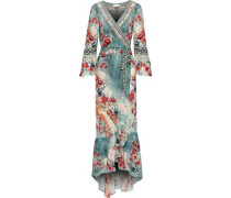 Her Heirloom Embellished Printed Silk Crepe De Chine Maxi Wrap Dress Turquoise