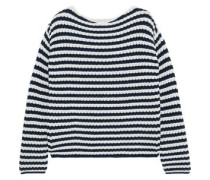 Striped Ribbed Cotton-blend Sweater Navy