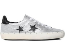 Laser-cut Smooth And Metallic Textured-leather Sneakers Silver