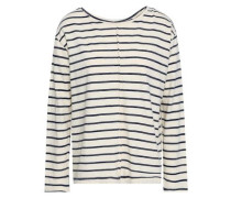 Striped Cotton-blend Jersey Top Ivory