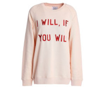 Embroidered French Cotton-terry Sweatshirt Blush