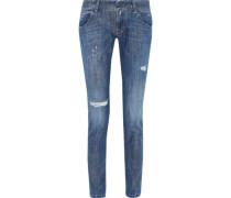 Glittered Distressed Low-rise Skinny Jeans Mid Denim  6