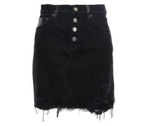 Leather-paneled Distressed Denim Mini Skirt Black