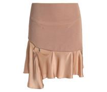 Cutout embellished satin and stretch-knit mini skirt