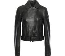 Studded Leather Biker Jacket Black