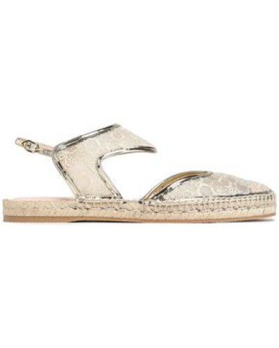 Metallic leather-trimmed embroidered mesh espadrilles
