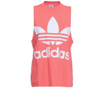 Printed Cotton-blend Jersey Tank Coral