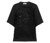 Macramé Lace, Tulle And Jersey Top Black
