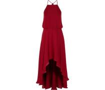 Asymmetric ruffled silk crepe de chine dress