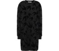 Flocked French Cotton-terry Mini Dress Black  /M