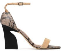 Snake-effect leather and suede sandals