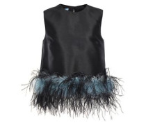 Woman Feather-trimmed Wool And Silk-blend Faille Top Black
