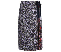 Paneled floral-print silk-crepe midi skirt