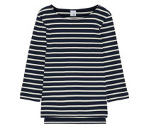 Madeline Striped Cotton-jersey Top Blue