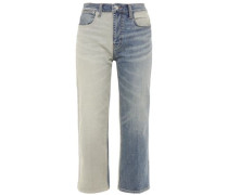 Woman Cropped Two-tone Mid-rise Straight-leg Jeans Mid Denim