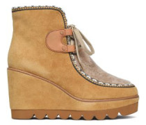 Shearling-paneled suede wedge ankle boots