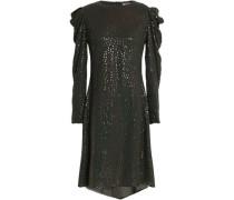 Ruffle-trimmed metallic silk-georgette dress