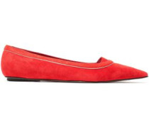 Suede Point-toe Flats Tomato Red