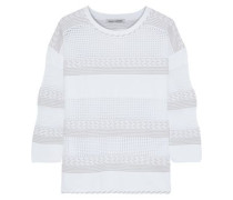 Pointelle-knit Sweater White