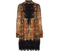 Guipure lace-trimmed printed jacquard mini dress