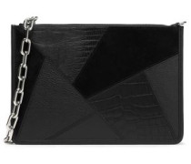 Patchwork suede and snake-effect leather clutch