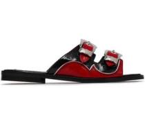 Moon Buckled Crinkled Patent-leather Slides Crimson