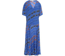 Woman Asymmetric Printed Satin-crepe Midi Dress Cobalt Blue