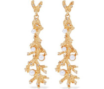 Gold-tone, crystal and faux pearl earrings