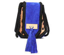Tasseled suede and leopard-print pony hair shoulder bag