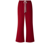 French Cotton-terry Wide-leg Track Pants Claret