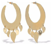 Hammered Gold-tone Hoop Earrings Gold Size --