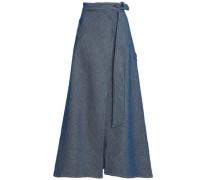 Two-tone Cotton And Linen-blend Twill Maxi Wrap Skirt Indigo