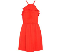 Raffaella Printed Crepe De Chine Mini Dress Tomato Red
