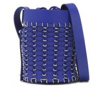 Ring-embellished leather bucket bag
