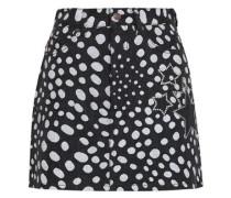 Embellished Printed Denim Mini Skirt Black  5
