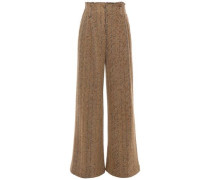 Herringbone Wool And Cotton-blend Wide-leg Pants Camel