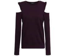 Ruffle-trimmed Cold-shoulder Knitted Sweater Dark Purple